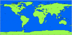 Map of land and oceans for UK Met Office Unified Model HadCM3 (at atmospheric resolution)